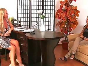 Hot Ashley Bulgari is showing horny Silvia Saint her sensational knockers and...