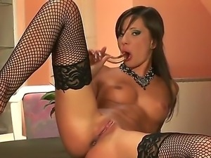 Nasty Aiden needs a hard treat for her starving pussy and enjoys her glass...
