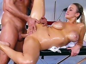 Sweet Abbey Brooks recives much more than just a massage from horny hunk Toni...