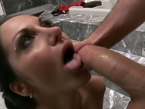 Hot milf Ava Addams seduces horny James Deen and deep sucks his huge monster...