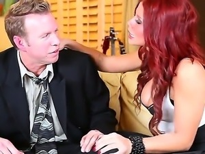 The attractive redhead pornstar Brooklyn Lee with a big tits seduces the Mark...