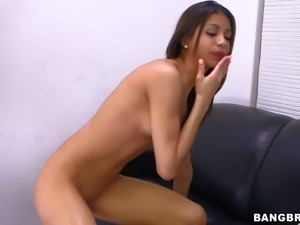 Sexy ass and petite brunette babe Veronica Rodriguez gets her