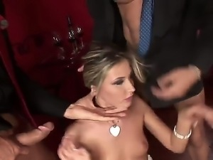 Glamorous blonde Cherry Jul got her tight and wet holes stuffed with two...