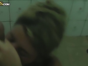 Skinny blonde Tiffany caught by me completely naked in the shower with her...