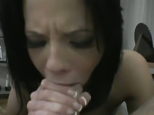 Very hot brunette is deepthroating and rimming hairy asshole of her horny...
