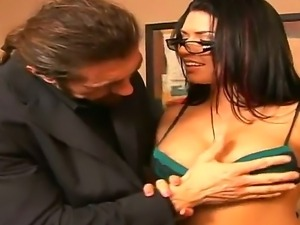 Hot and crazy scene with a passionate slut Eva Angelina and Reno in the office