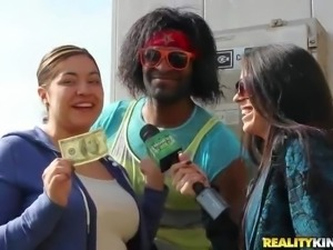 Ladies next door get paid to touch black guy's nice