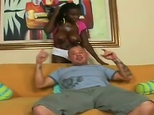 Lucky dude Josh gets his hands on gorgeous black hottie with big boobs Shanti...