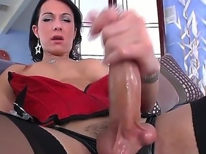 Busty shemale Danika Dreamz enjoys jerking his huge dick, feeling intense...