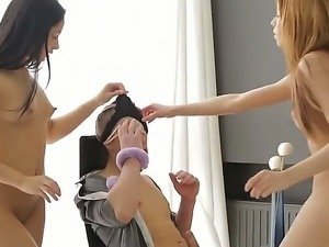 Threesome action with sweet and teen girls named Erica and Betty