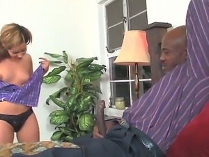 Look at amazing and lickerish blonde miss Rosalie Ruiz pleasuring big ebony cock