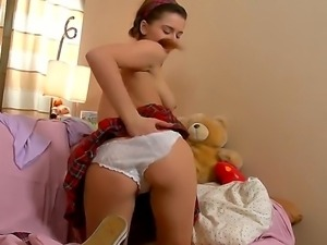 Innocent looking slim brunette schoolgirl Klara with perfectly shaped body...