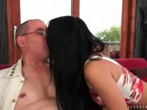 Teen cutie fucking a lucky grandpa