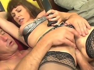 Alexandra Silk puts a nice toy into the Paul Carrigans mouth and gets his dick