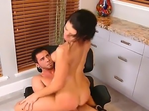 Greatly sexy brunette chick Ann Marie Rios is riding big hard Dane Crosss...