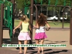 Ashley and Brianna sensual lesbian teens kissing and flashing tits in public