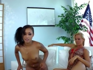 Bootylicious blonde Sandy D and flat chested skinny ebony girl Skin Diamond...