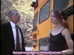 Teacher fucks teen at the school bus free
