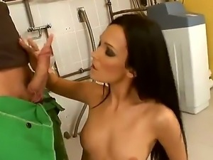 Naughty and sexy brunette babe Regina Moon rubs her boobs and fucks like a...