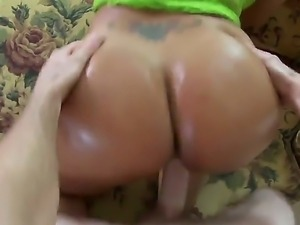 Sexy slutty brunette Paola enjoys getting oiled up and fucking a big dick...