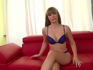 Young and energetic Latina Charlyse Bella takes off her clothes at the casting