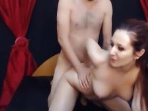 Horny GF Cock Rides and Swallows his BF's Load