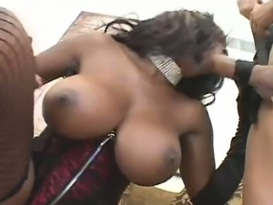 Ebony with massive jugs slammed by white guy