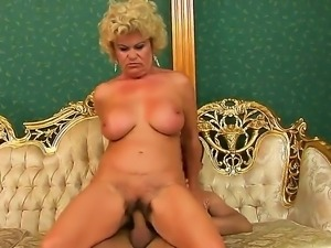 Dick hungry old grandma erected a young and pretty big cock with hot blowjob...