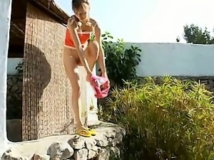 Peeing of neat russian teenager
