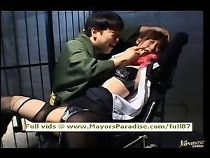 Chihiro Hara smarttied up in jail and gets a sex train