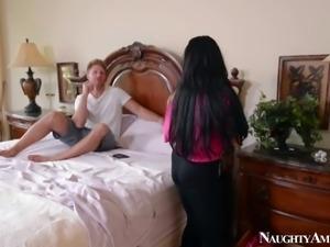 Ex pornstar Holly Halston is his bets friends mom. Gorgeous dark haired milf...