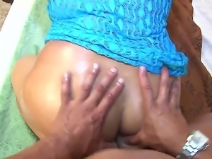 Latina hottie with big great butt Lorena Lobos is getting her ass oiled and...