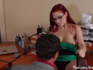 Sexy and arousing redhead Penny Pax enjoys in seducing her turned on boss...
