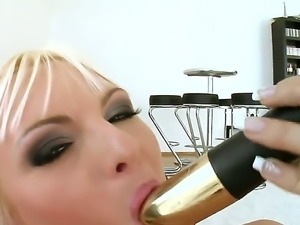 Sandra Sanchez loves to masturbate on camera and she uses a banana and a...