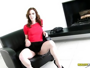 Brunette Sammy Grand gets orally fucked by Voodoo s meaty mouth stretcher