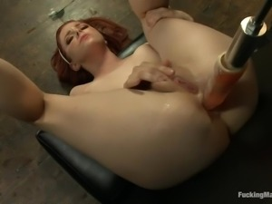 penny filled up by her sex machine