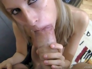 Young blonde babe Babette with tight ass and natural boobs gets down on knees...