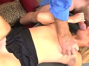 Sexy slender blonde Brittany Angel B is being fucked up in her cunt by first...