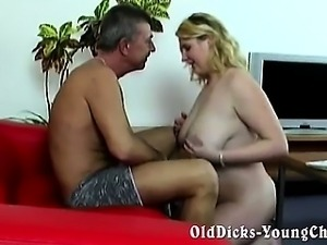 Amateur grandpa with hot blonde BBW