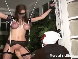 Hot amateur babe has her huge jugs bound in tight rope and restricted as...