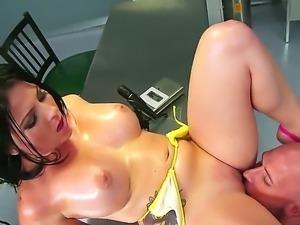 Slender brunette bitch Casey Cumz sucked up and titjobbed huge Johnny Sinss...