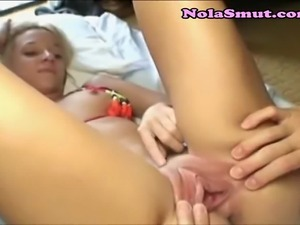 Tinky blonde slut gets fingered by Japanese
