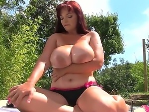 Joanna Bliss makes it rain on her huge boobs and now she is feeling so damn...