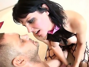 Bounded beauty bobi blows a huge pole and enjoys her tight cunt banged by a...