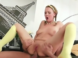 Lusty brunette slut Lolly Moon with natural boobs and slim sexy body gets her...