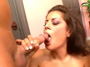 Precious brunette babe Marlena Mason is pushing huge and nasty Steven Knights...