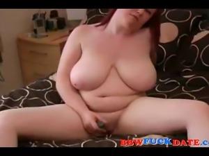 Amateur BBW redhead masturbating