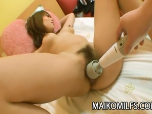 Milf Japanese Rina Tachikawa submits her pussy for a good fuck with toys,...