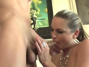 Amanda Blow does what her last name suggests to Chris Johnson while he enjoys...