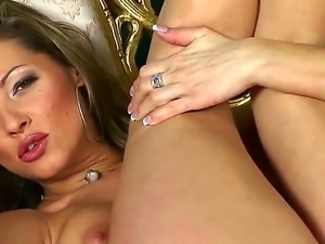 Stunning blonde glamour chick Carolyn Cage is fond of relaxing alone from...